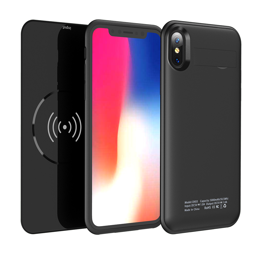 iphone x battery case wireless 5000mah power bank with qi. Black Bedroom Furniture Sets. Home Design Ideas