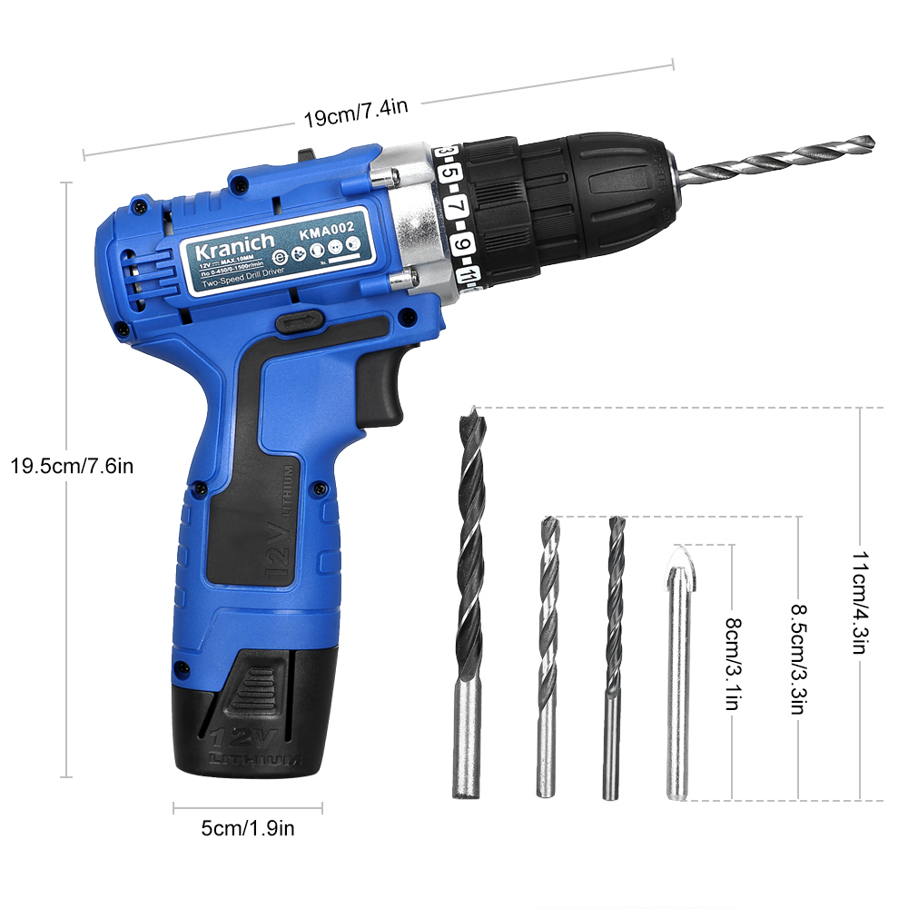 12v dual speed lithium cordless drill driver screwdriver+2 battery