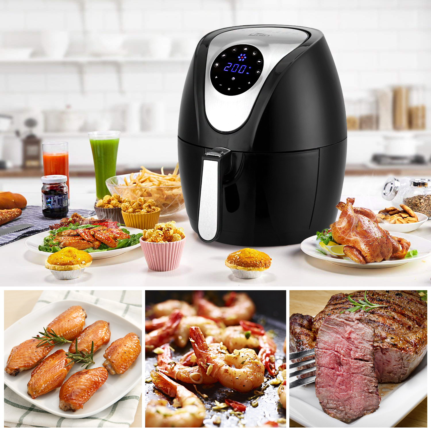 Air Fryer Low Fat Xl Health 4 5l 1400w Cooker Oven Oil